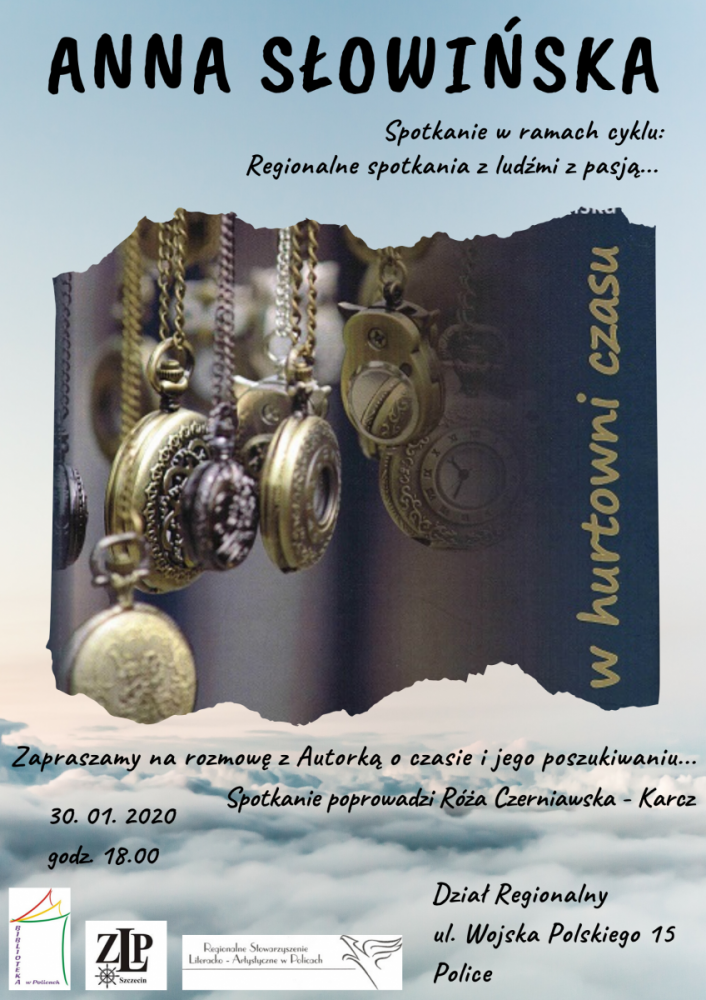 Plakat promujący spotkanie autorki, przedstawiający zegary