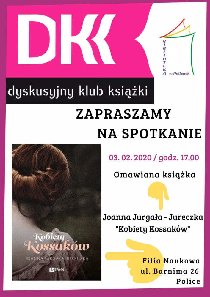 plakat promujący spotkanie Dyskusyjnego Klubu Książki