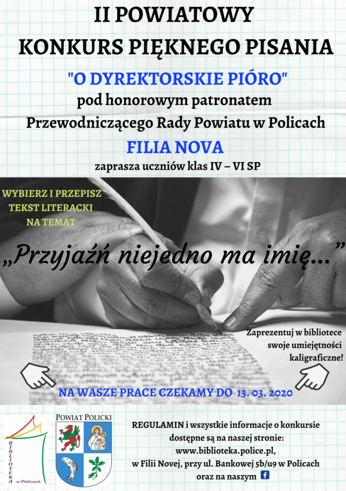 Plakat promujący konkurs pięknego pisania