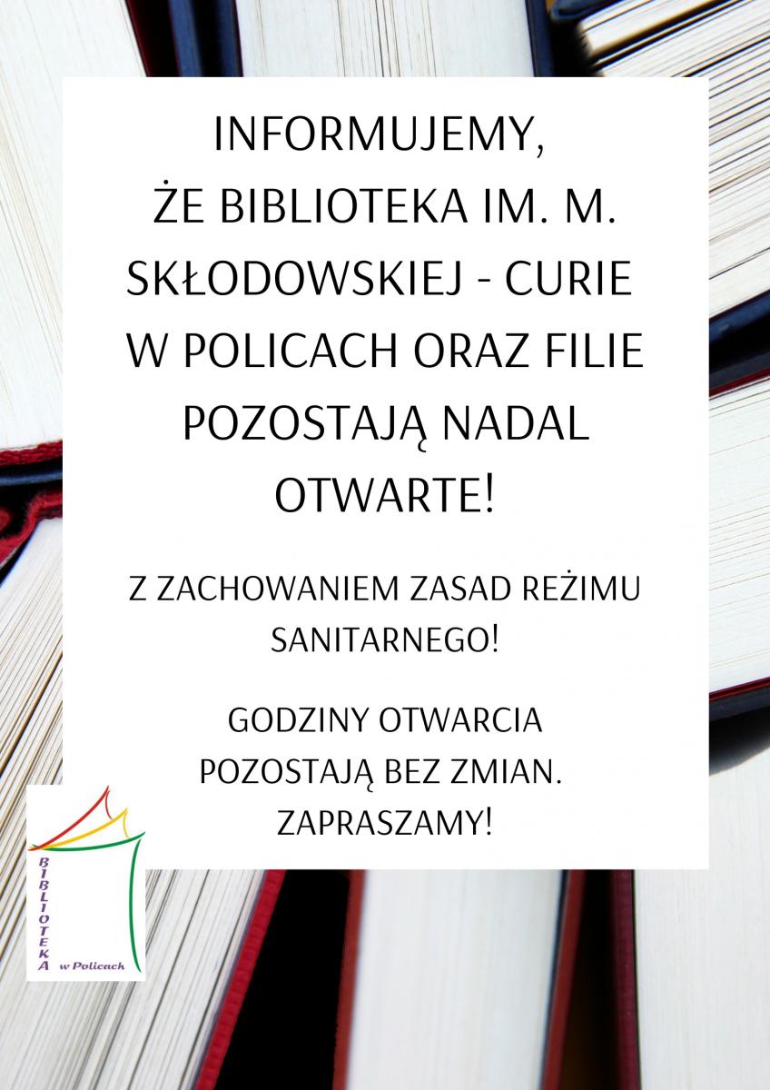 informacja o tym, że biblioteka jest otwarta