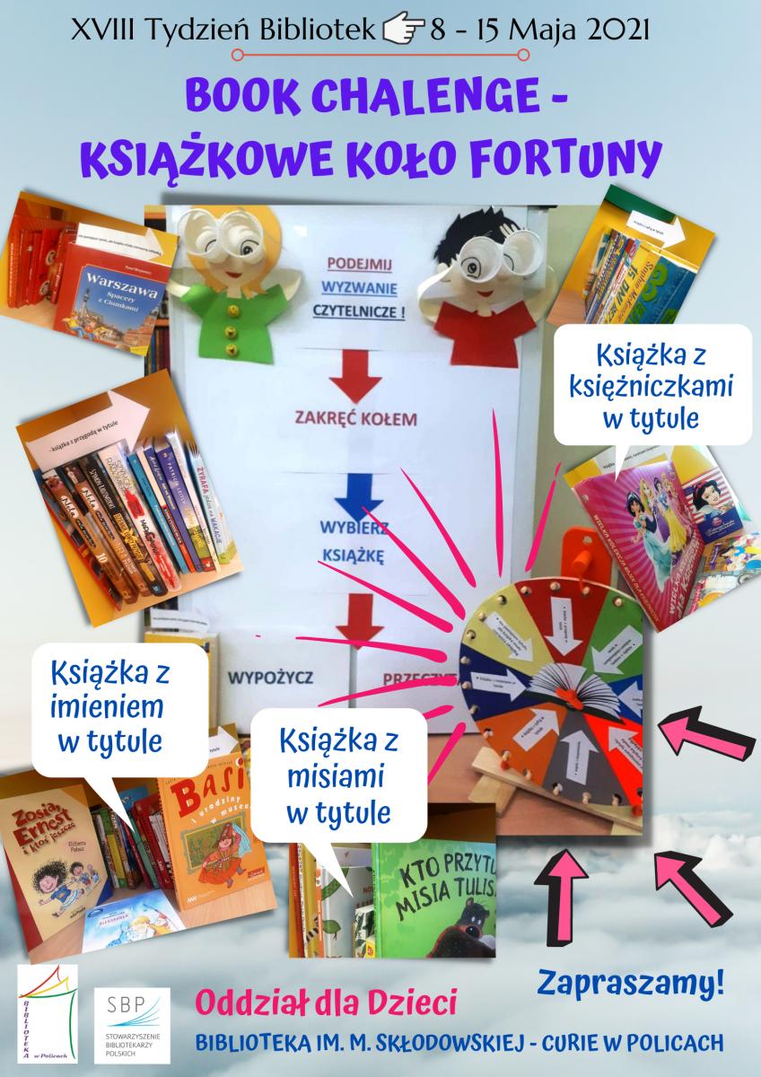 Plakat promujący Książkowe Koło Fortuny w Oddziale dla Dzieci