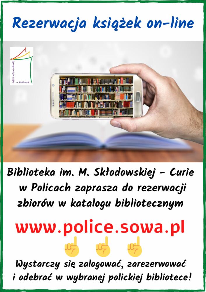 Plakat zachęcający do rezerwacji książek on-line - telefon na tle książki