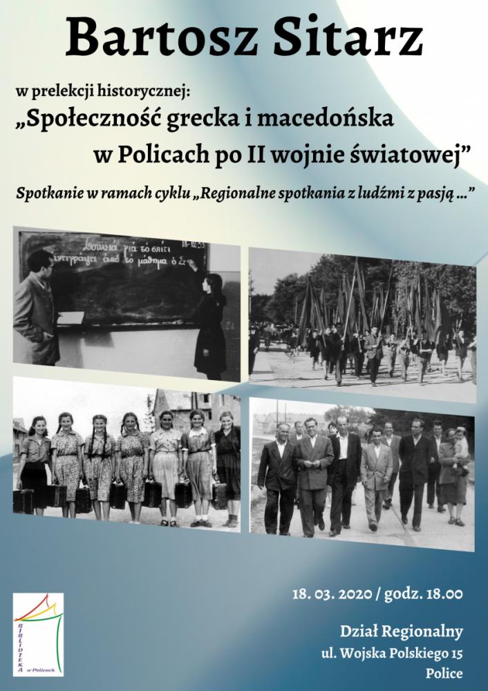Hisotryczne zdjęcia na plakacie promującym spotkanie z Bartoszem Sitarzem