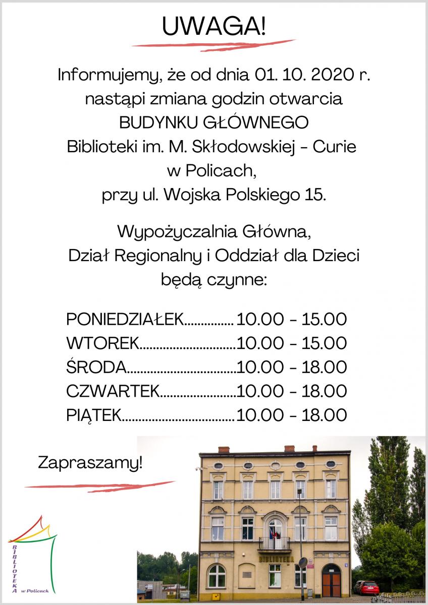 informacja o godzinach otwarcia biblioteki wraz ze zdjęciem budynku biblioteki