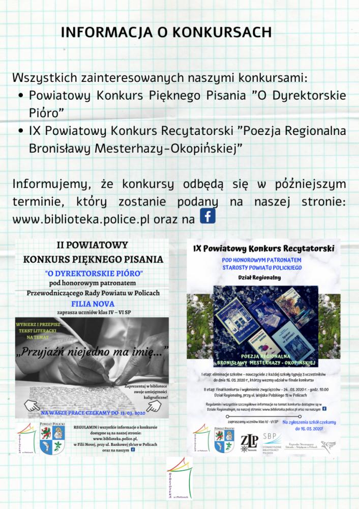 Plakat informujący o odwołaniu konkursów powiatowych z powodu pandemii