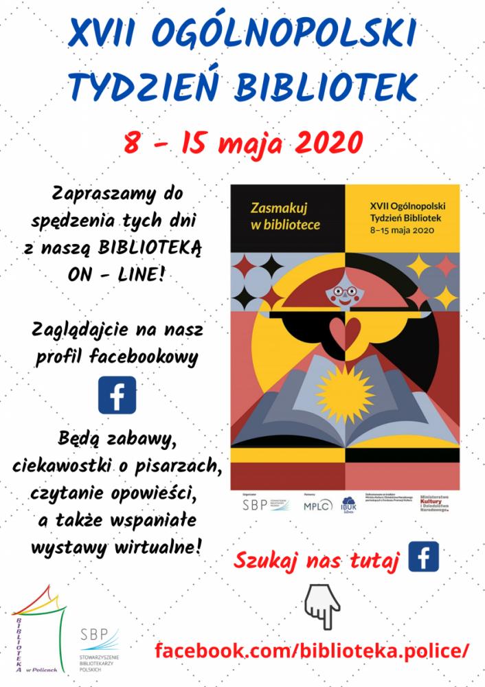 Plakat promujący Tydzień Bibliotek w polickiej Bibliotece