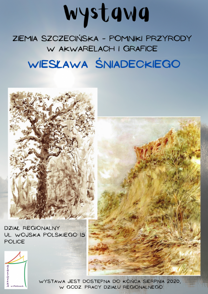 Plakat promujący wystawę Wiesława śniadeckiego - przedstawia grafiki autora