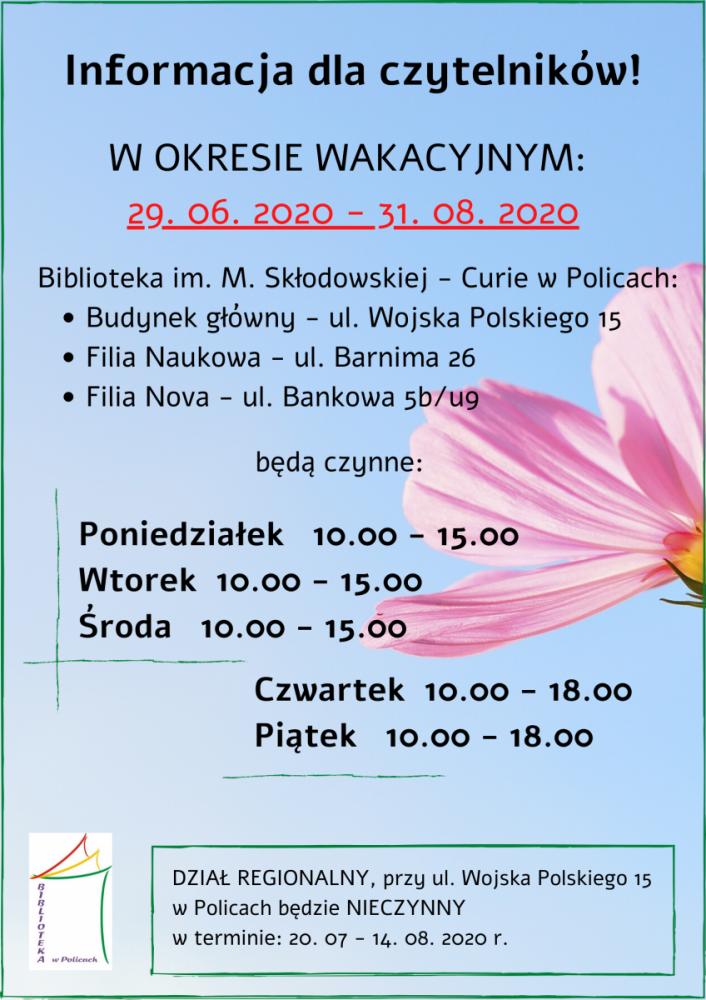 Platak przedstawiający godz.pracy biblioteki w okresie wakacji