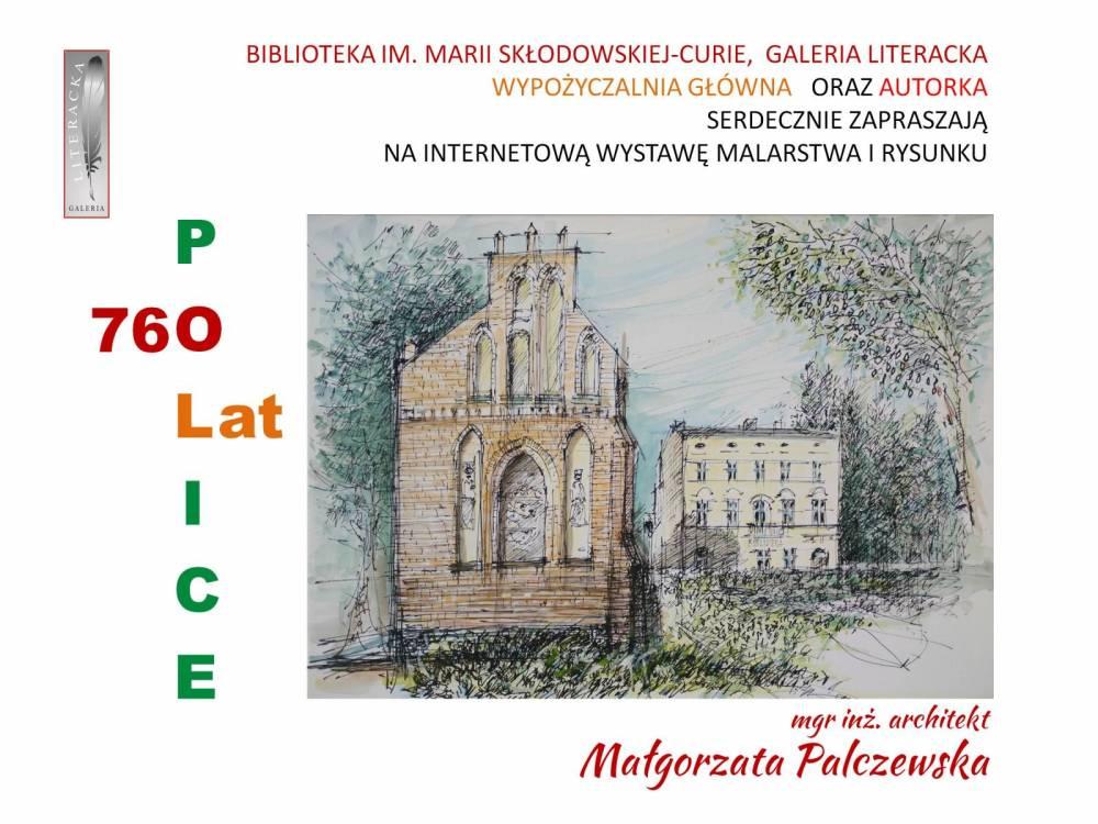 Plakat promujący wystawę w Wypożyczalni Głównej - rysunek budynków