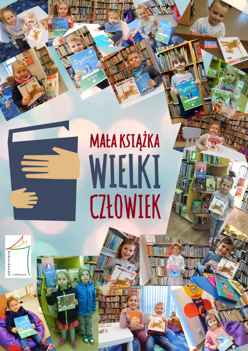 """zdjęcie dzieci oraz logo kampani """"Mała Książka-wielki człowiek"""